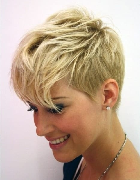 Pixie with short asymmetrical wispy bangs