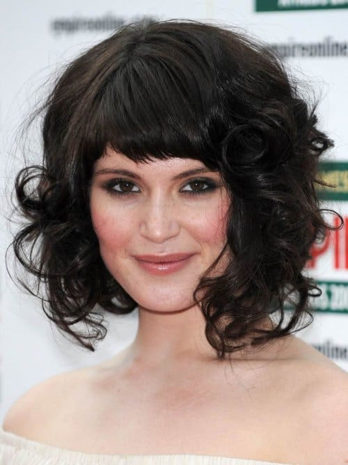 Curly Thick Layered Hair with Short Bangs