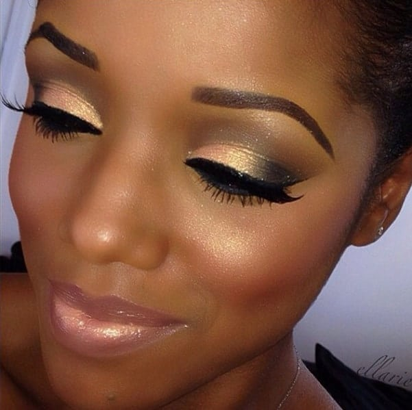 black and golden eye makeup for women