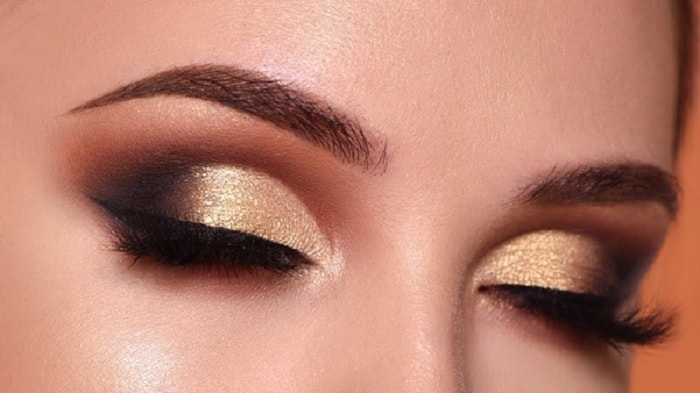 golden black eye makeup for women