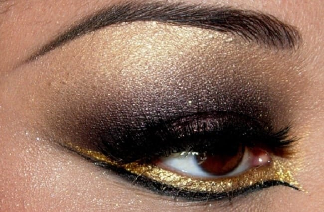 Dramatic Black and Gold Eye Makeup