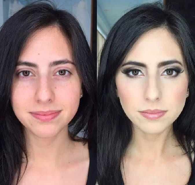 dramatic makeup transformation for bride