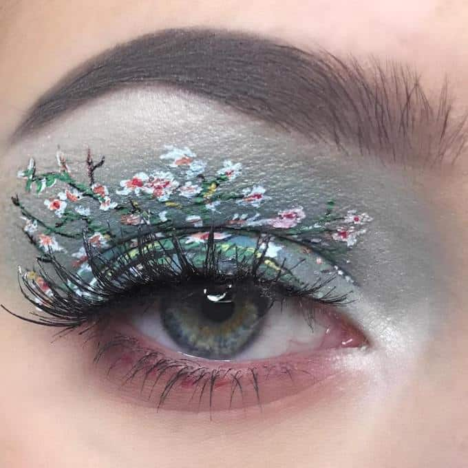 eye makeup art with flowers