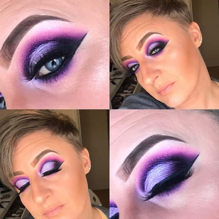 purple eye makeup for blue eyes over 60