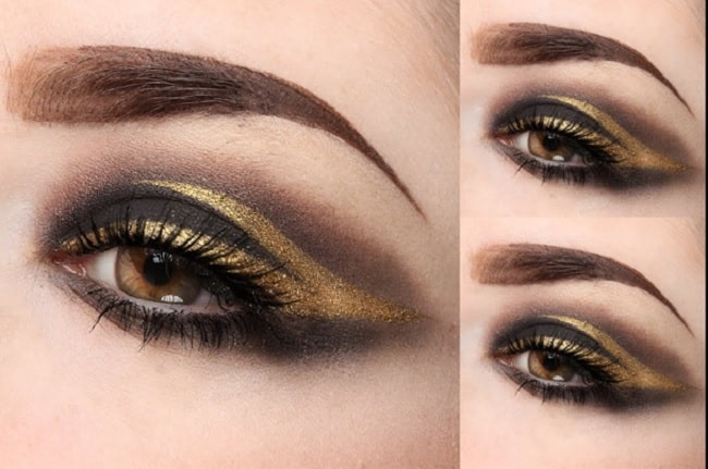 Black and Gold Split Eye Makeup Look