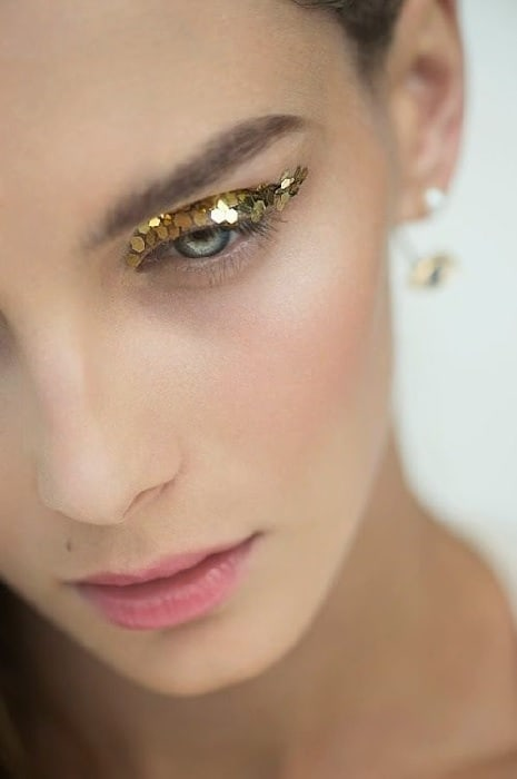 Golden Glitter Eye Makeup