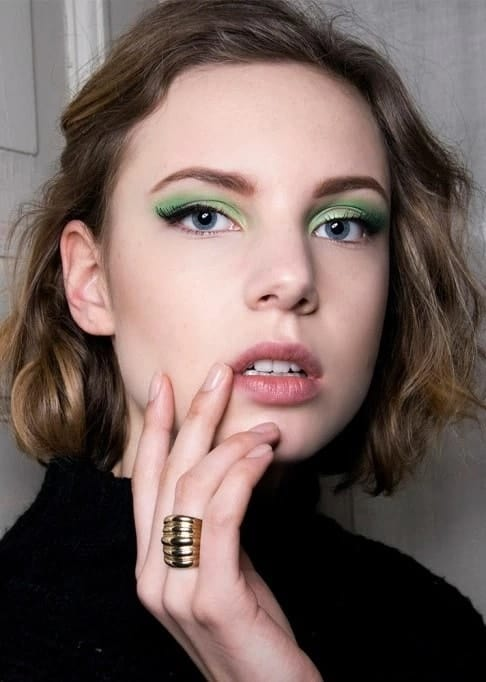 green eye makeup with Pastel Shade