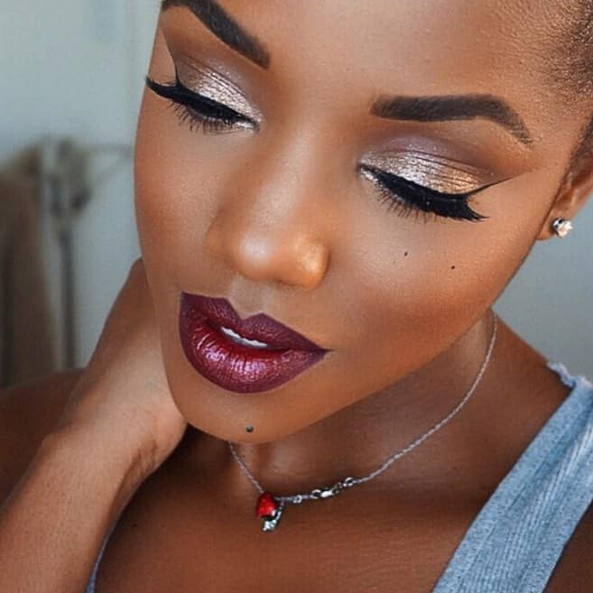 glitter eye makeup for dark skin women