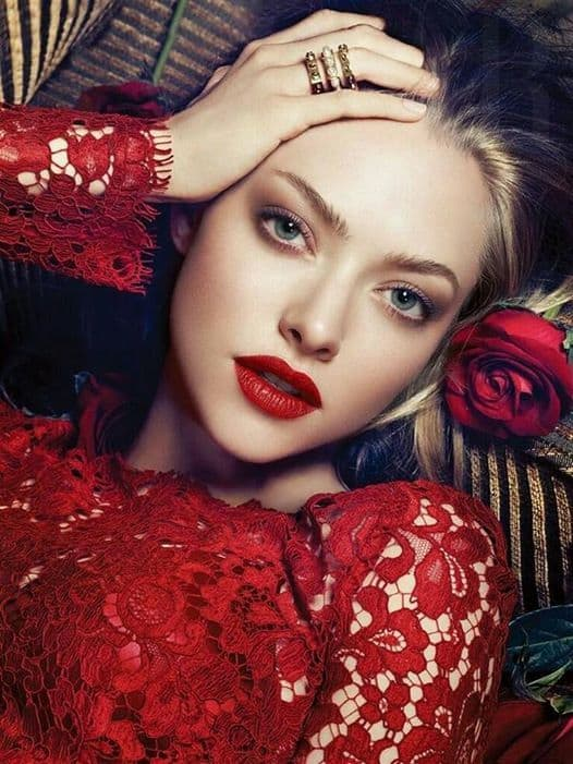 red dress makeup for green eyes
