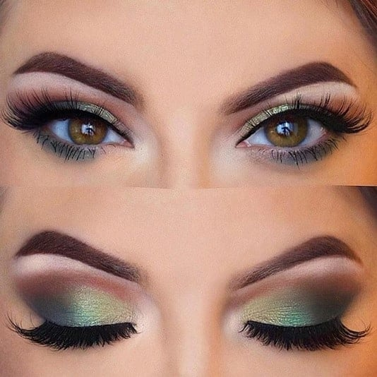 Green Eye Makeup for Hooded Eyes