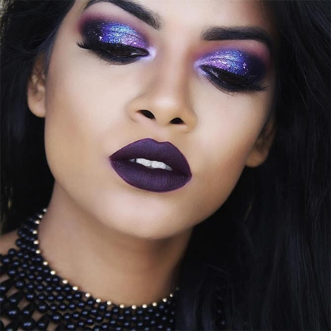 shimmery makeup look for purple dress