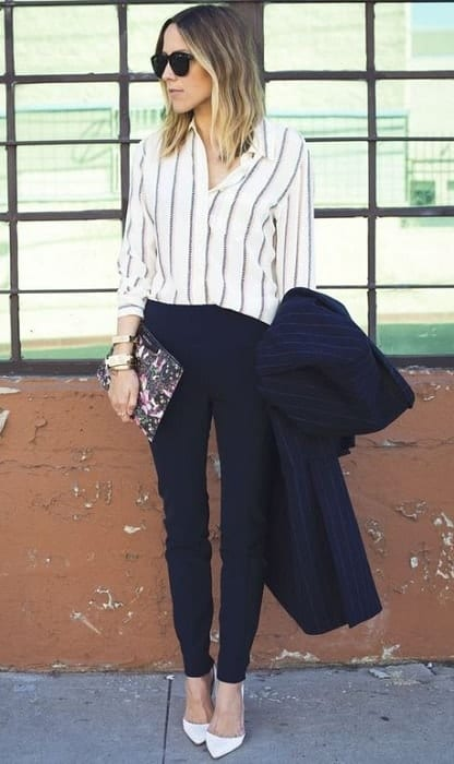 striped professional outfits for women