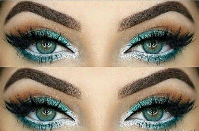 teal and white eyeshadow for women