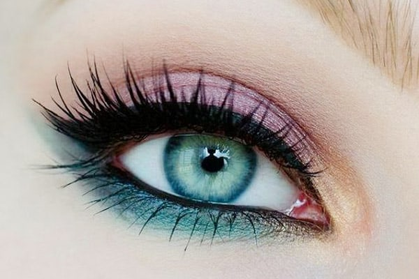 teal and pink eyeshadow