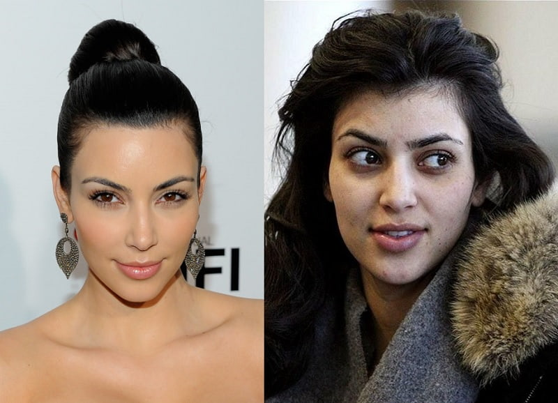 Kim Kardashian with and without makeup look