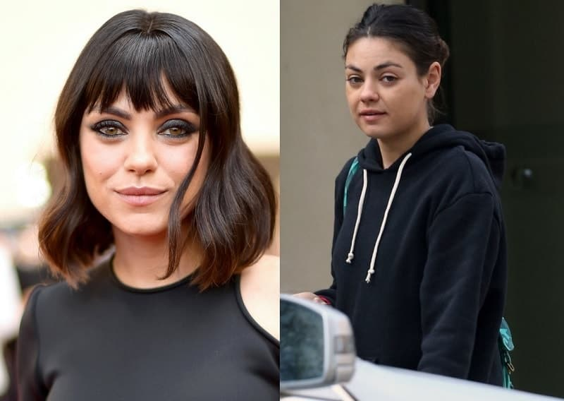 Mila Kunis with and without makeup look