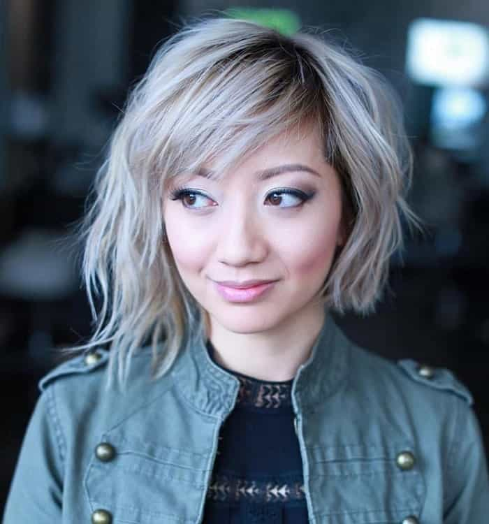 asymmetric ash blonde hair