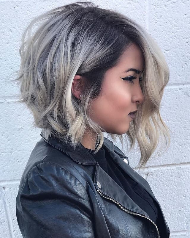 short hair with smoky ash blonde