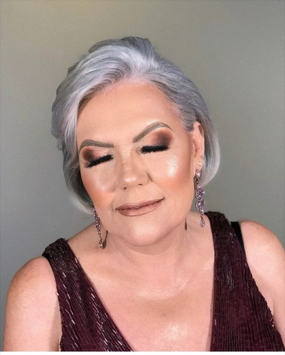 brown eye makeup for 70 year old women