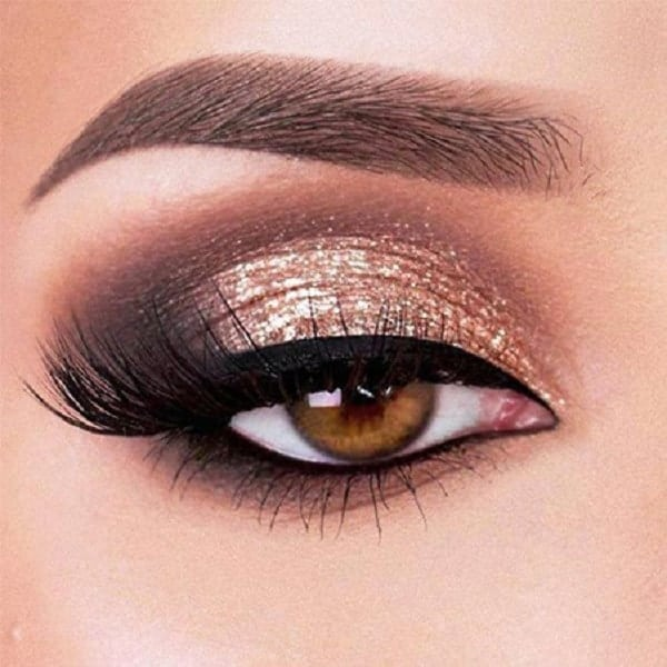 Golden Smokey Eye Makeup for Brown Eyes