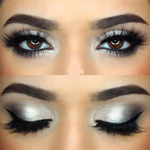 Silver Eye Makeup for Brown Eyes