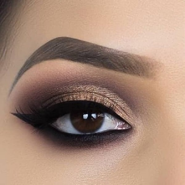 Golden & Brown Eye Makeup for Brown Eyes