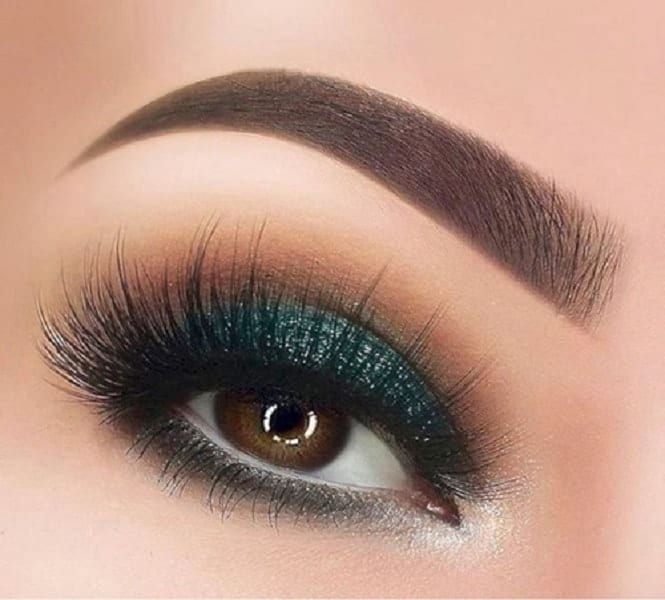 Emerald Green Glitter Makeup For Brown Eyes